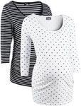 Opinie o Bonprix Shirt ciążowy biznesowy (2 szt.), bawełna organiczna biały w groszki + w paski