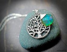925 Srebrny łańcuszek drzewo życia i labradoryt