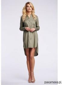 Asymetryczna koszulowa tunika - khaki