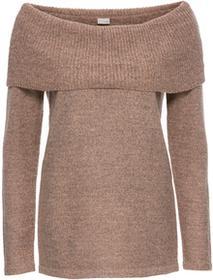 Bonprix Sweter z odkrytymi ramionami stary jasnoróżowy melanż