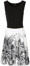 Bonprix Sukienka shirtowa biel wełny z nadrukiem