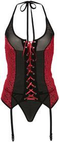 Bonprix Koszulka nocna z paskami do pończoch + stringi (2 części) czarno-czerwony