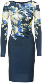 Bonprix Sukienka ciemnoniebieski z kolorowym nadrukiem