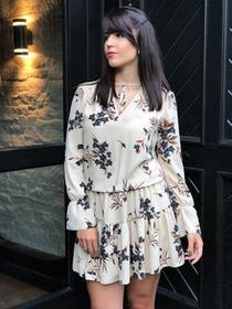 Sukienka beżowa w kwiaty