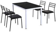 Lectus Zestaw stołowy Industrio czarny stół + 4 krzesła