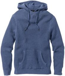Bonprix Sweter z kapturem Regular Fit niebieski dżins melanż