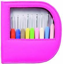 KnitPro 30922szydełko zestaw Soft uchwyt aluminiowy srebrny Waves w skórzanym etui, różowa KP30922