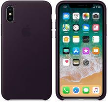 Apple Leather Case do iPhone X Dark Aubergine