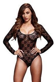 Baci Lingerie Body - Black Lacy Bodysuit Back Cutout One Size