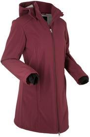 Bonprix Długa kurtka softshell z polarem barankiem czerwony klonowy
