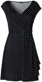 Bonprix Sukienka w groszki czarny-ecru