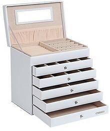 Yorbay Seelux szkatułka na biżuterię i kosmetyki, biały, 5 szuflad