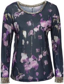 Bonprix Shirt w kwiaty ciemnoniebieski z nadrukiem