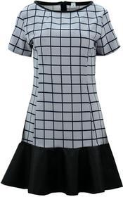 Sukienka z falbaną z ekoskóry (szara kratka) : Rozmiar - S