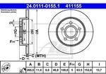ATE TARCZA HAM 24.0111-0155.1 FORD C-MAX 1.6. 1.8 07-. FOCUS II 1.4. 1.6. 1.6TDCI. 1.6TI 04-  24.011