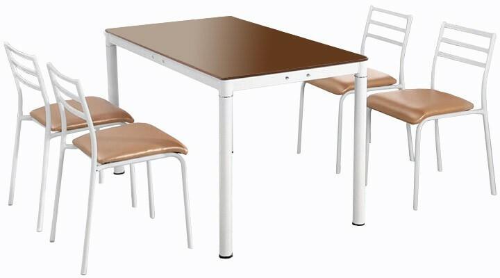 Lectus Zestaw stołowy Industrio szampański stół + 4 krzesła