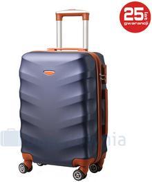 Kemer Mała walizka EXCLUSIVE 6881 SS Granatowo brązowa - brązowy || granatowy 5902052671731