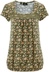 Bonprix Shirt ciemnooliwkowy w kwiaty