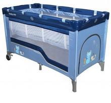Baby Mix Łóżeczko turystyczne 120x60 HR-8052 2-poziomowe blue