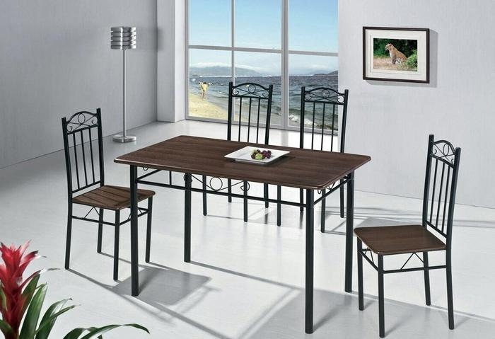 Lectus Zestaw stołowy Sargos 4 krzesła ciemny