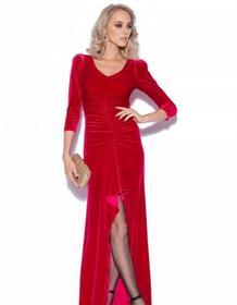 Nissa Sukienka długa aksamitna czerwona