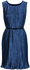 Bonprix Sukienka plisowana z paskiem ciemnoniebieski