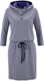 Bonprix Sukienka z dżerseju, z kapturem kobaltowo-biały w paski