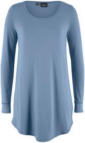 Bonprix Długi shirt, długi rękaw matowy niebieski