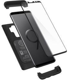 Spigen Thin Fit 360 etui + szkło na Samsung Galaxy S9 Plus CZARNY TWORZYWO SZTUCZNE NA PRZÓD I TYŁ 593CS22959
