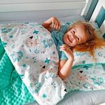 Bubaland Śpiwór dla dzieci do spania Łąka - mięta minky