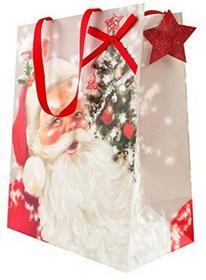 Hallmark torebka na prezent na święta Bożego Narodzenia z motywem Mikołaja, duża