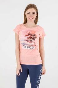 4F Koszulka damska koralowy pastelowy r L H4L17-TSD009)