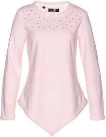 Bonprix Sweter z polaru z asymetryczną linią dołu pastelowy jasnoróżowy - srebrny