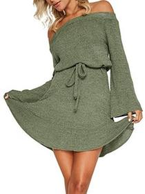Simplee Apparel damska elegancka sukienka na długość do kolan z długim rękawem na ramię z wolnym dzianinowe sukienki i trąbką rękawy -  bez ramiączek zielony B074L2P9V8