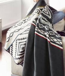 biederbach (Badenia-lakier do salonu jak i koc do przytulania, 60% bawełna, kontrola-obramowaniem, 150x 200cm, biały/antracyt, ozdobne Ethno Nuuk,,,,, 649843