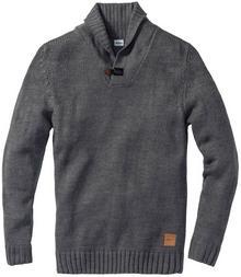 Bonprix Sweter Regular Fit szary melanż