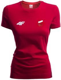 4F Koszulka damska Polska Pyeongchang 2018 TSD900R czerwony wiśniowy [S4Z17-TSD900R] TSD900R czerwony wiśniowy