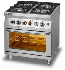Lozamet Kuchnia gazowa 4-palnikowa z piekarnikiem elektrycznym GN 2/1, 800x700x900 mm | L700.KG4-PE L700.KG4-PE