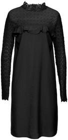 Bonprix Sukienka z falbanami i koronką czarny