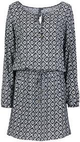 Bonprix Sukienka czarno-biel wełny z nadrukiem