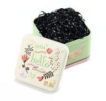 erioctry 1Box (700pcs) jednorazowego użytku gumka do włosów Elastic Hair Bands gumka do włosów gumka elastyczna ze słodkimi puszka blaszana do włosów dla niemowląt dzieci dziewcząt czarny ZZY00710X-700PCS
