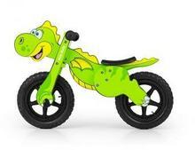 Milly Mally Drewniany rowerek biegowy DINO zielony pompowane koła