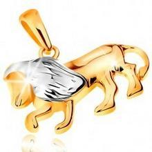 Biżuteria e-shop Dwukolorowa złota zawieszka 585 - symbol znaku zodiaku - LEW