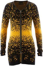 Bonprix Długi sweter rozpinany z dzianiny żakardowej czarno-żółty szafranowy wzorzysty