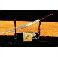Kuźnia mieczy samurajskich MIECZ SAMURAJSKI WAKIZASHI DO TRENINGU, STAL WYSOKOWĘGLOWA 1095 WARSTWOWANA DAMASCEŃSKA, R316