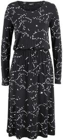 Bonprix Sukienka shirtowa w długości do łydki czarny z nadrukiem