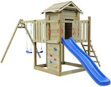 vidaXL Plac zabaw z drabinką, zjeżdżalnią i huśtawkami, drewniany vidaXL