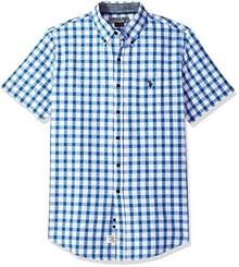 U.S. POLO ASSN. Men's Short Sleeve Classic Fit Plaid Shirt, White zima gglb, XXL B074PCLLQ5