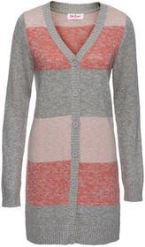 Bonprix Długi sweter rozpinany szaro-jasnoróżowy melanż