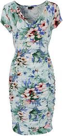 Bonprix Sukienka z drapowaniem ecru z nadrukiem